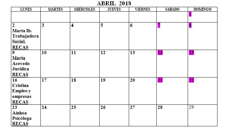 Calendario Centro de la Mujer Abril