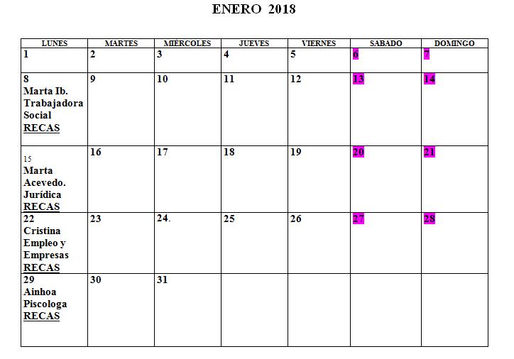 Calendario Centro de la Mujer Enero