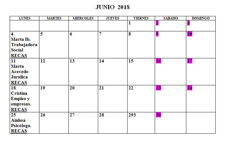 Calendario Centro de la Mujer Junio