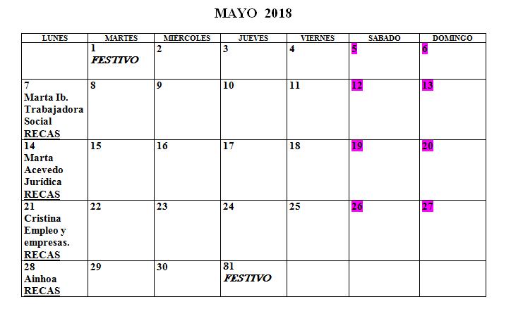 Calendario Centro de la Mujer Mayo