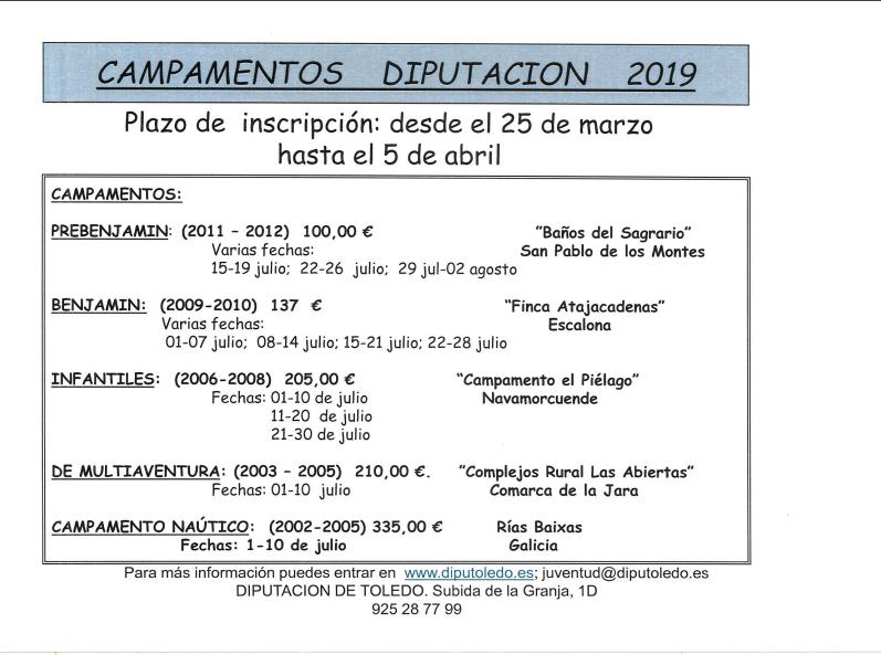 Campamentos Diputación 2019