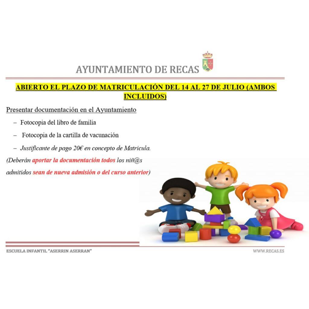 Plazo de matriculación Escuela Infantil